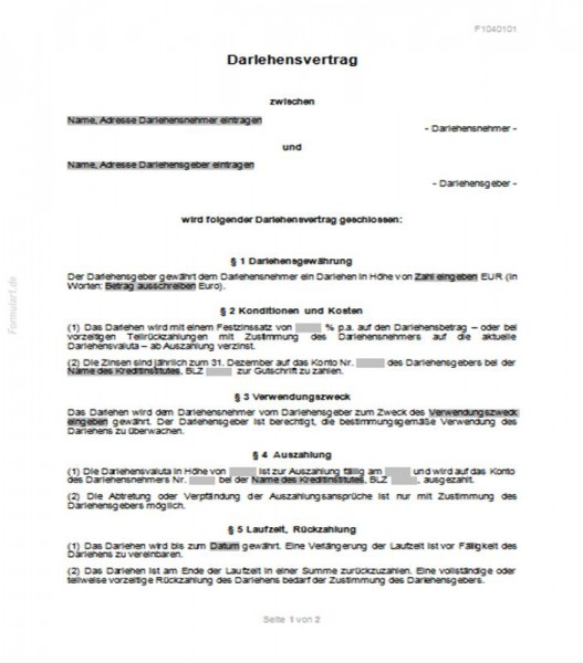Darlehensvertrag Privat Darlehensverträge Verträge Vorlagen