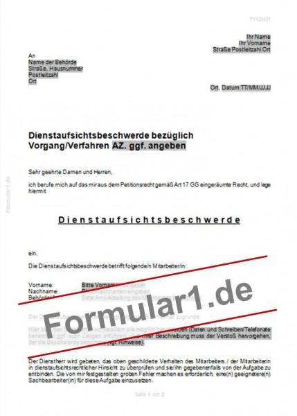 Dienstaufsichtsbeschwerde | Vorlagen, Verträge, Muster und Formulare ...