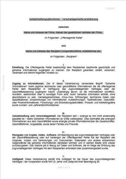 Geheimhaltungsabkommen Verschwiegenheitsvereinbarung