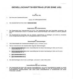 Gesellschaftsvertrag Einer Unternehmergesellschaft Ug Vorlagen