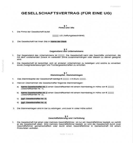 Gesellschaftsvertrag Ug Haftungsbeschrankt Smartlaw 7