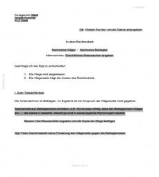 Klageerwiderung vor dem Amtsgericht (durch eine Privatperson)