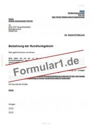 Schreiben an ARD ZDF Deutschlandradio mit Barzahlungsverlangen