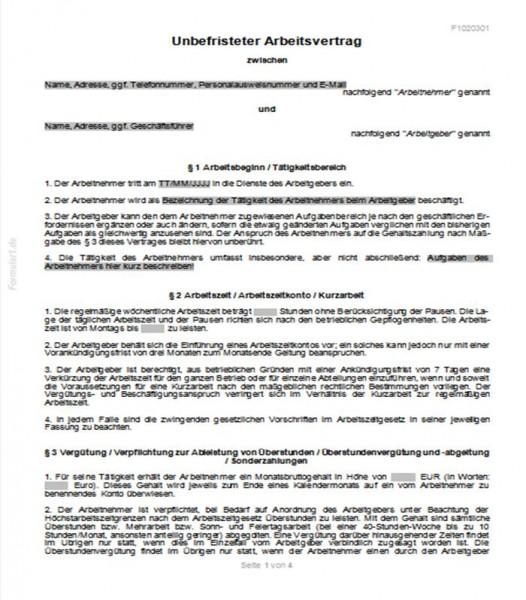 Unbefristeter Arbeitsvertrag Arbeitsverträge Verträge Vorlagen